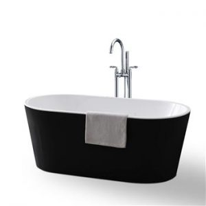 Free Standing Oval Bath Black/White