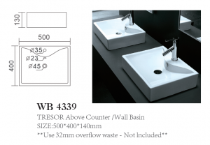 TRESOR Above Counter /Wall Basin
