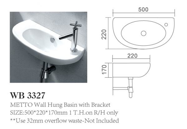 Wall Hung Basin with Bracket