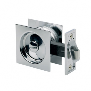 Square Sliding Cavity Door Lock- Privacy Chrome Visual Pack