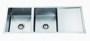 Square Undermount Sink 2 bowls 1 Drainer/ Drop in Sink