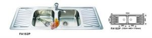 Kitchen Sink Double Bowl/Strainer FA152P