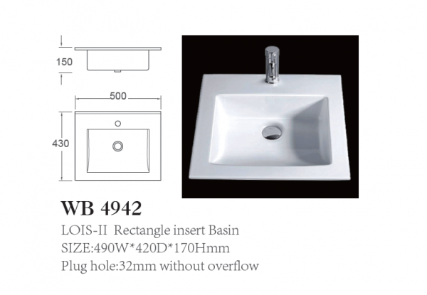 Rectangle insert Basin